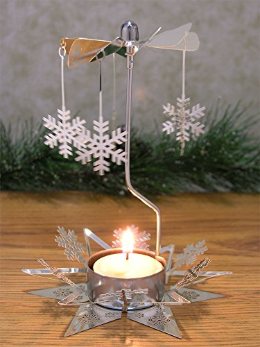 Snowflake Candle Spinner - Rotating Tea Light Candle Holder - Scandinavian Christmas - Silver Snowflake (Snowflake Candle Holders)