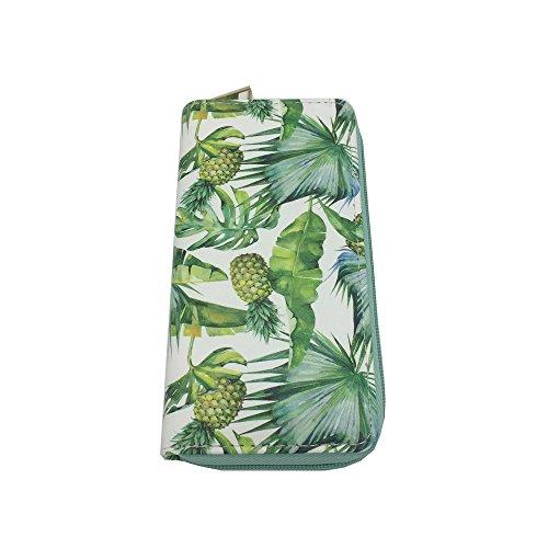 (GOPPUI Women's Pineapple Leather Wallet Zip Around Palm Tree Purse Credit Card Holder, Green)