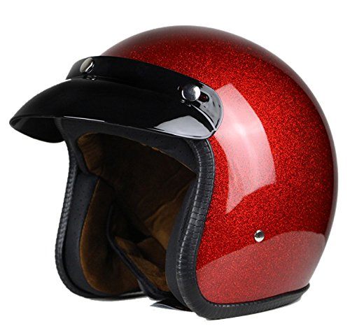 Woljay 3/4 Open Face helmet, Motorcycle Helmet Flat Red (M)