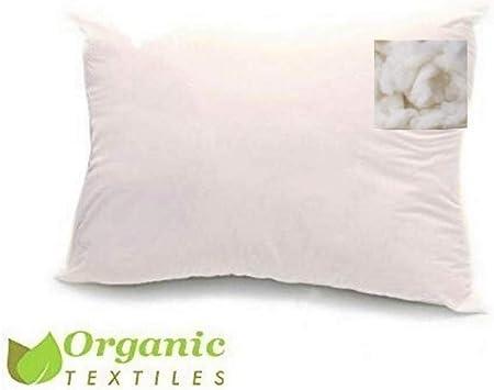 100% algodón orgánico Cubierta lana relleno almohada: Amazon.es: Hogar