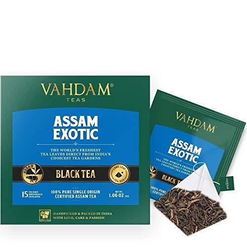 - VAHDAM, Assam Black Tea (30 Tea Bags) - Long Leaf Assam Tea Bags - RICH & MALTY - Breakfast Tea Bags, FTGFOP1 Grade, 100% Certified Pure Unblended Assam Tea Loose Leaf - 15 Pyramid Tea Bags (Set of 2)
