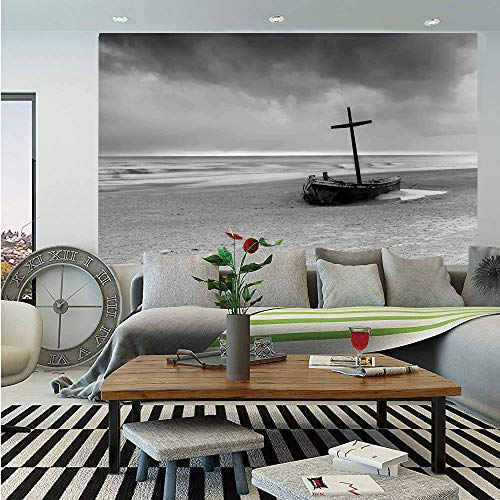 Ocean Decor Huge Photo Wall Mural,Wreck Small Stranded Boat on Seaside Snow Clouds Windy Day Wave Picture,Self-Adhesive Large Wallpaper for Home Decor 100x144 inches,Black and White -
