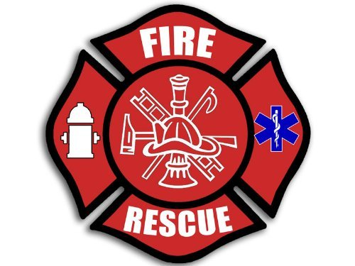 - Fire RESCUE Maltese Cross Sticker (decal emt firefighter)