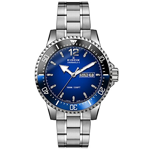 Edox Men's Chronorally-S 44mm Steel Bracelet & Case Swiss Quartz Blue Dial Analog Watch 84300 3NBUM BUBN