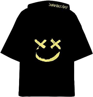 OLIPHEE DJ con Estampado 3D Camisetas con Capucha Be Happy Hip Hop Manga Corta para Hombre: Amazon.es: Ropa y accesorios