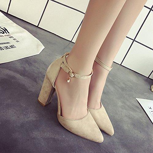 blanco Heeled High hembra zapatos Bold punta con sandalias hembra 39 con ranurada nzEq5xw