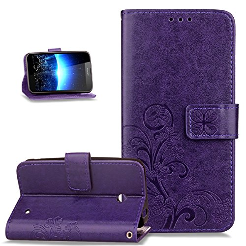 Nokia Lumia 635 Case,Nokia Lumia 630 Case,ikasus Embossing Clover Flower Premium PU Leather Flip Wallet Pouch with Stand Credit Card Holders Case Cover for Nokia Lumia - 635 Nokia Free Shipping Case