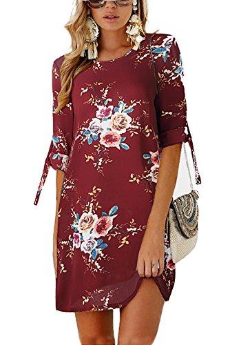 Minipeach Women's Summer Round Neck Printed Casual Short Strap Mini - Printed Dress Check