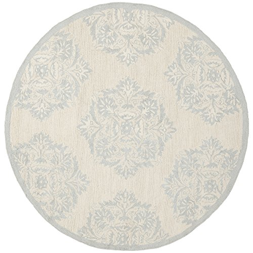 Safavieh Chelsea Collection HK359A Hand-Hooked Ivory and Blue Premium Wool Round Area Rug (8' Diameter) - 8r Chelsea Round Rug