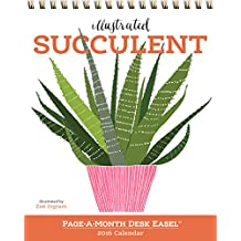Illustrated Succulent Page-A-Month Desk Easel Calendar 2016