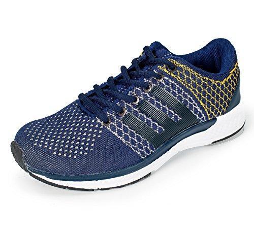 Pro (from Khadims) Men's Blue Mesh/Textile Sports Sneakers – 6
