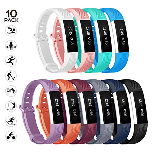 sunyfeel Compatible with Alta HR and Alta Band Replacement, Fashion Sports Silicone Personalized Replacement Bracelet with Metal Clasp for Alta HR/Alta (Small, 10pcs)