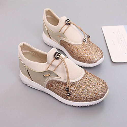 huichang Unisex Casual Sneakers Sports Running Breathable Mesh Shoes Gold 3v086