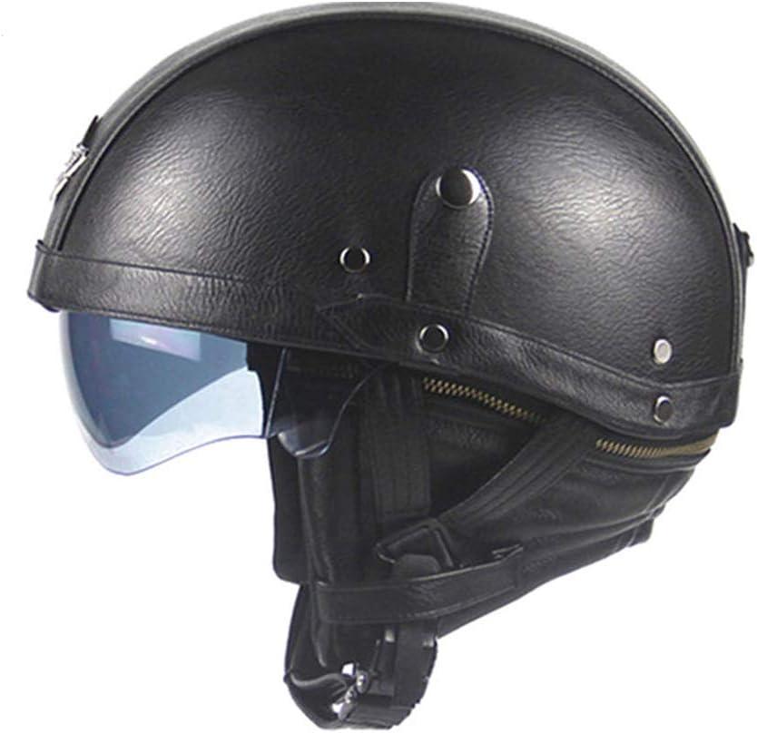 Synthetic Leather Motorcycle Helmet Retro Vintage Half Helmet Cruiser Scooter Touring Casco Moto Helmet DOT Sun Shield Lens