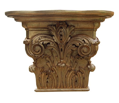 Hickory Manor House Capital Shelf with Gold -