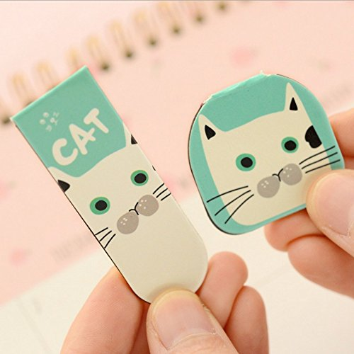 Katoot@ 8set/lot Kawaii cat Magnetic bookmark Cartoon animal book markers for books paper clips Korean stationery office school supplies