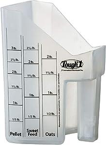 Tough-1 Clear Equine Livestock Food Pellet Sweet Feed Oats Grain Measuring Scoop