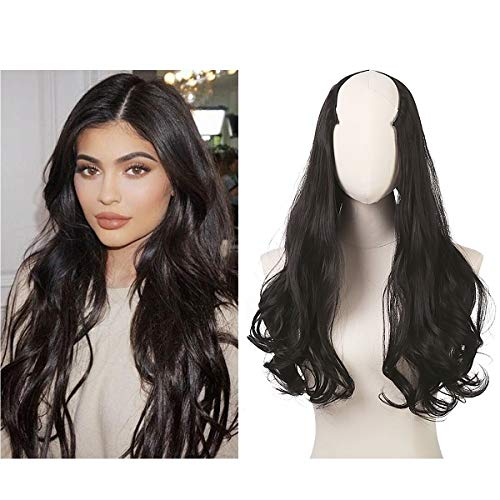 """Full Head Clip in Hair Extension U part Curly Curl Wave Long Long 24"""" 0.37lb 170g One Piece Synthetic Hairpiece For Women Natural Real Hair Piece Japan High Temperature Fiber(UH17#black brown)"""