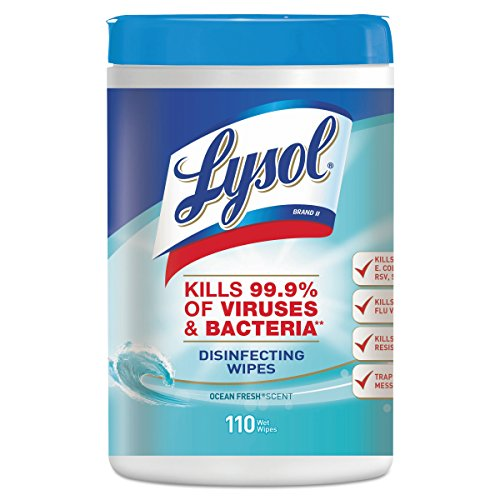 - LYSOL Brand 93010CT Disinfecting Wipes, Ocean Fresh Scent, 7 x 8, White, 110 Per Canister, Pack of 6