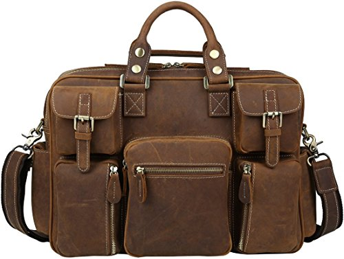 "Iswee Crazy Horse Cowhide Leather Multi-Pocket Tote Briefcase Messenger Bags, Fit 15.6"" in Laptop (Brown) by Iswee"