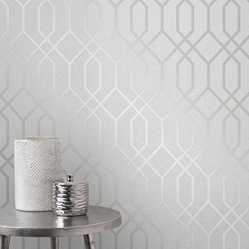 (Quartz Trellis Geometric Wallpaper Silver and Grey Fine Decor FD42304)
