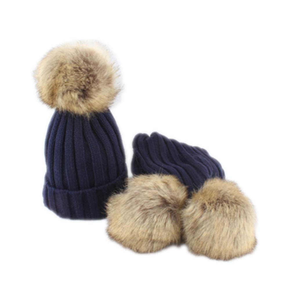 2 Pieces Set Fur Pompoms Beanie Scarf Hat Warm Knitted Winter Hats