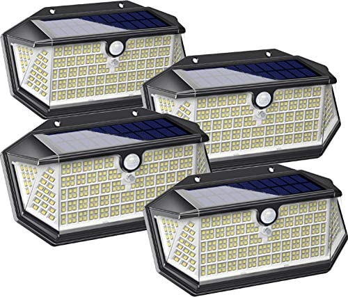 Solar Lights Outdoor 266 LED with Lights Reflector, IP65 Waterproof Solar Motion Sensor Security Lights, Wireless 3 Modes Wall Lights for Garden, Patio, Garage, Yard 4 Pack
