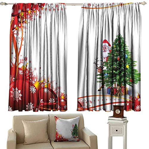 DUCKIL Room Darkening Wide Curtains Santa Father Christmas and Reindeer Smiling Behind a Festive Pine Tree in Red Balls Frame Blackout Draperies for Bedroom Window W55 xL39 Multicolor ()