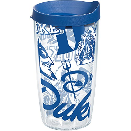 Tervis 1267717 NCAA Duke Blue Devils All Over Tumbler with Lid, 16 oz, Clear