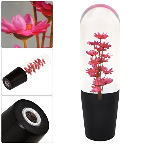 Flower Filled (Universal 150MM Poly Style Flower Filled Shift Knob Transparent Red M/T)
