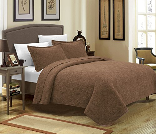 Mk Collection 3pc Crafted and quilted Bedspread with New Material Handcrafted solid quilt with intricate stitch pattern Color (King, Brown)
