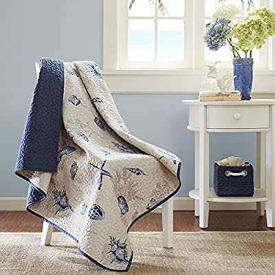 Madison Park Bayside Luxury Oversized Quilted Throw Ivory Navy Blue 60x70   Coastal  Premium Soft Cozy Microfiber For Bed, Couch or Sofa - PRODUCT FEATURES- The Madison Park Bayside quilted throw creates a casual coastal look.  The throw features assorted seashells accentuated with light and dark blue coloring on an ivory background. The throw is oversized and overfilled SUPERIOR QUALITY FABRIC- Ultra-soft, wrinkle resistant fabric that is more durable and breathable in reverse part MEASUREMENT- 1 Throw:60(W) x 70(L) Inches - blankets-throws, bedroom-sheets-comforters, bedroom - 51DZ49Hfn%2BL. SS400  -