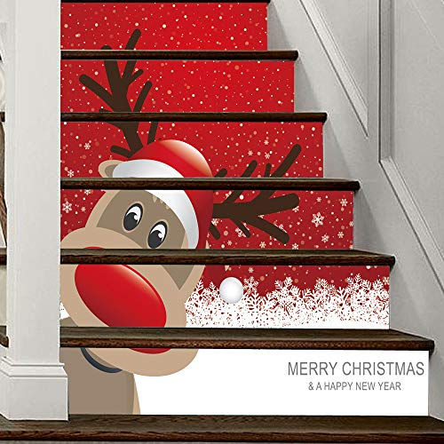 Iusun Christmas Santas Elk Snowmen Pattern Stair Stickers Waterproof Wall Window Sticker Decal Santa Claus Snowman Decoration DIY Room Home Nursery Bedroom Office Supplies Gift (B)