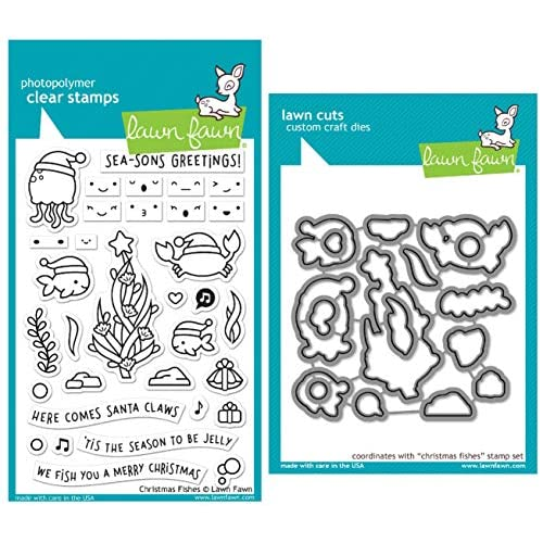 Lawn Fawn Christmas Fishes Clear Stamps and Coordinating Die Set, Bundle of 2 Items, (LF2024, LF2025)