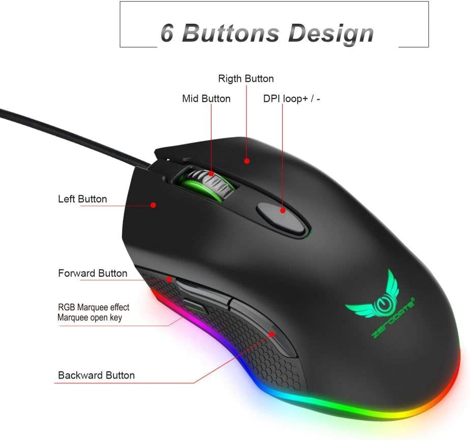 Programmable Gaming Mouse 4800 DPI 6 Buttons RGB Backlit USB Optical Mouse Gamer for PC Laptop Value-5-Star