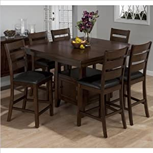 Attractive Jofran 7 Piece Counter Height Dining Set In Taylor Brown Cherry