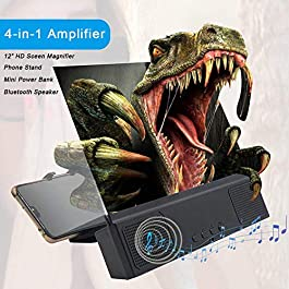 """12"""" Phone Screen Magnifier with Bluetooth Speaker, 3D HD Movies Amplifier Projector Cell Phone Screen Enlarger with…"""