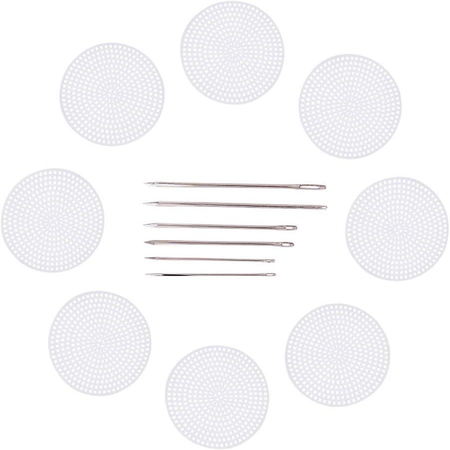 PandaHall - Juego de tablas de punto de cruz, lona de plástico, con costura en hierro y piel de lona, color blanco