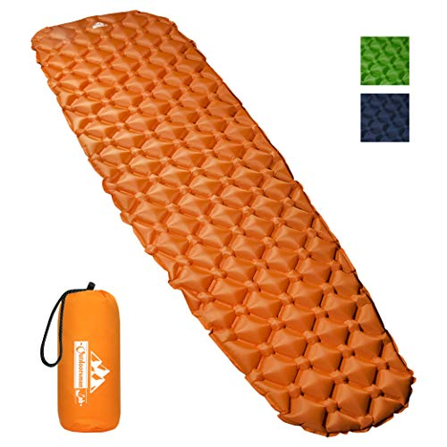 Outdoorsman Lab Inflatable Sleeping Pad - Ultralight, Compact Inflating Pads - Portable Bed Mat for Travel, Hiking, Backpacking - Folding Air Mattress for Sleep Bag, Camping Accessories (Orange) from Outdoorsman Lab