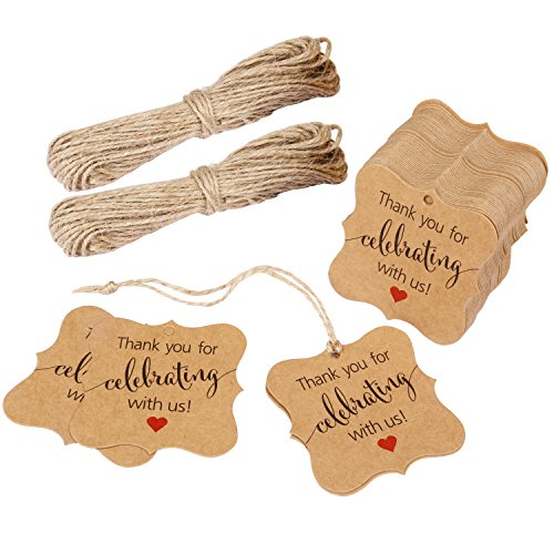 Aprince Paper Favor Gift Tags Thank You Tags Wedding Favor Gift Tags Thank You for Celebrating with Us 100 PCS Square Tags with 20m Natural Jute Twine Perfect for Bridal Baby Shower Anniversary Brown -