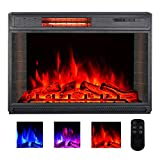 YODOLLA 28' Electric Fireplace Insert, Infrad Quartz Heating Christmas Electric Fireplace Heater with Remote Control