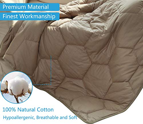 YEMYHOM 100% Cotton Weighted Blanket Adult Bed Heavy Blankets for Great Sleeping (60x80 20 lbs, Stone)
