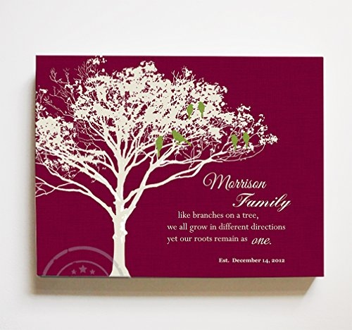 - MuralMax Personalized Family Tree & Lovebirds, Stretched Canvas Wall Art, Make Your Wedding & Anniversary Gifts Memorable, Unique Wall Décor - Burgundy - Size 10 x 8-30-DAY