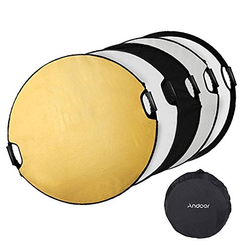 Andoer 24 inch/ 60cm 5in1 Round Collapasible Multi-Disc Portable Photo Photography Studio Video Lighting Reflector/Diffuser with Grip and Carrying Case by Andoer