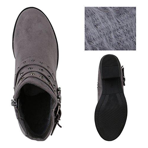 Profilsohle Stiefeletten Grau Blockabsatz Boots Schuhe Nieten Damen Flandell Stiefelparadies Chelsea wX4qa5HPcF