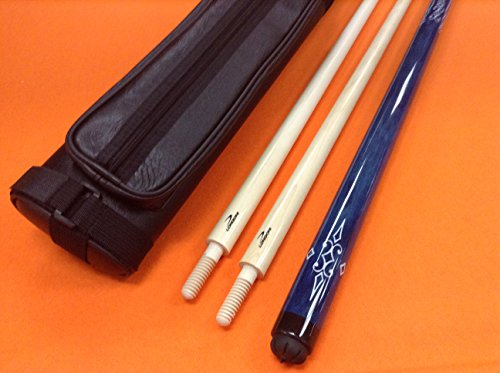 LONGONI CAROM CUE BLUE WITH 2 SHAFTS & CASE by LONGONI