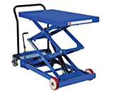 Vestil-CART-1000-D-FR-Steel-Double-Scissor-Cart-Foot-Actuated-Single-Speed-Hydraulic-Pump-1000-lb-Capacity-40-x-24-Platform-Height-Range-11-34-to-61-Blue