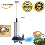 Milk Frother Stainless Steel Electric Portable Mixer REBOFONIC Handheld Wand for Travel Work Picnic Camping, 2 Whisk Heads, Free Stand, Wash Brush, AAA Battery Powered, Easy to Use, Simple to Clean