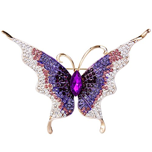 Austrian Crystal Butterfly Pin (EVER FAITH Women's Austrian Crystal Butterfly Insect Brooch Purple Gold-Tone)