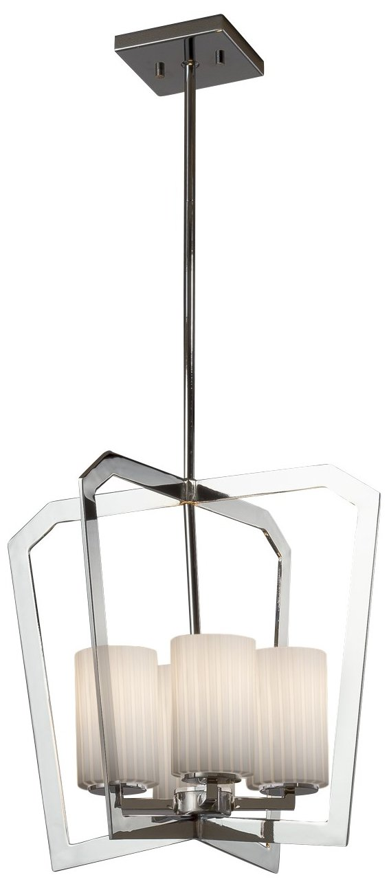 Justice Design Group Lighting FSN-8014-10-RBON-NCKL Fusion Aria 4-Light Chandelier Finish with Artisan Glass Ribbon-Cylinder with Flat Rim Shade, Brushed Nickel